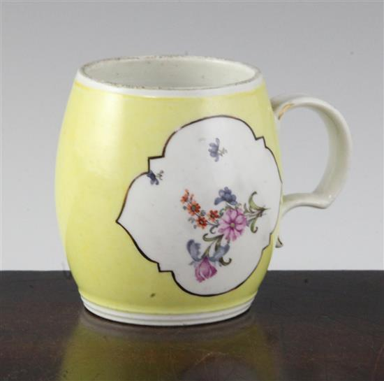 A Meissen yellow ground barrel shaped mustard pot, mid 18th century, height 2.75in.