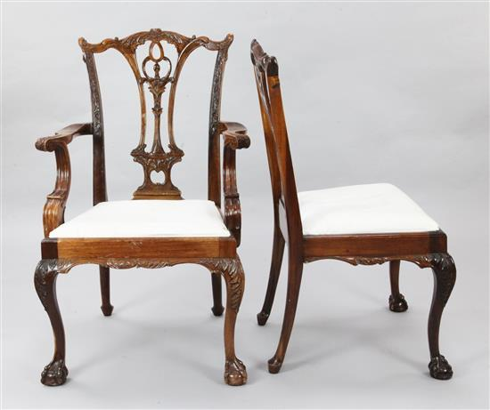 A set of eight Chippendale style mahogany dining chairs, H.3ft 3in.