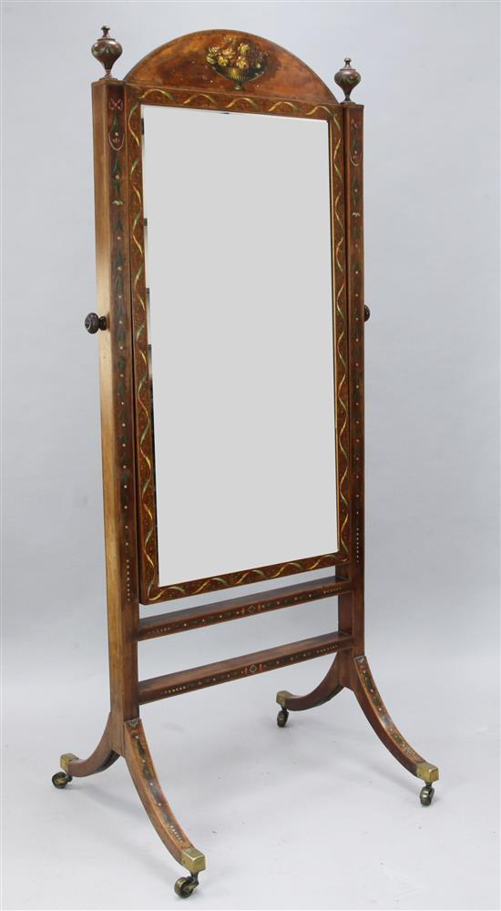 A George III floral painted satinwood and mahogany cheval mirror, W.2ft 6in. H.5ft 8in.