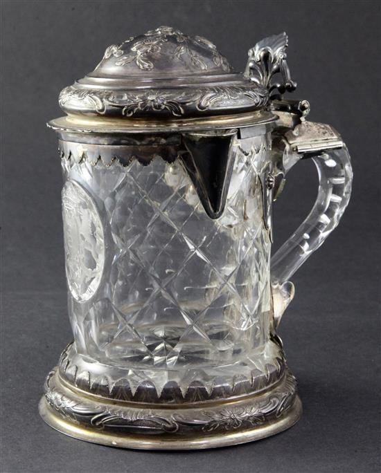 A German facetted glass and silver mounted flagon, late 18th century, height 18cm (7in.)