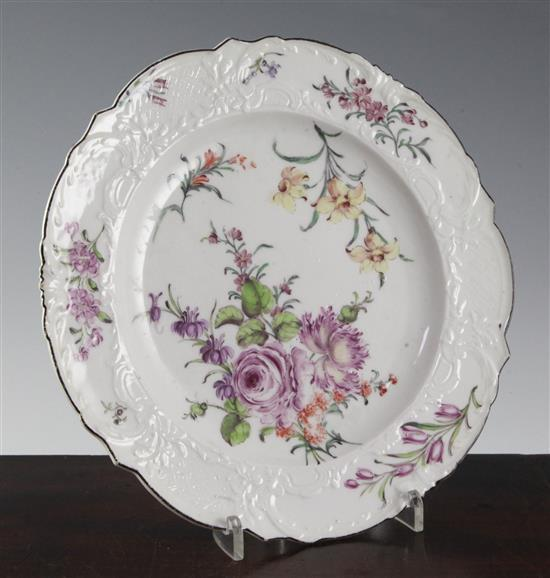 A Chelsea moulded plate, c.1758, 24.5cm (9.7in.)