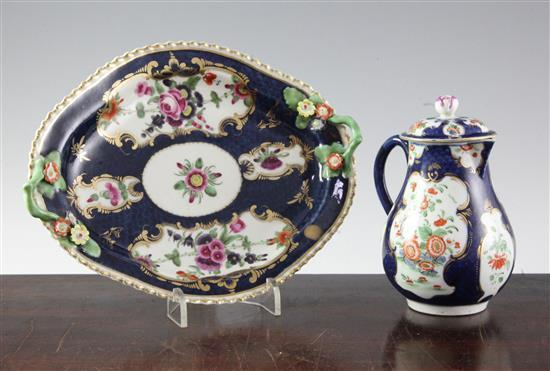 A Worcester scale blue lozenge shaped dish and a similar covered jug, c.1775, 21cm (8.25in.) and 22cm (8.75in.)
