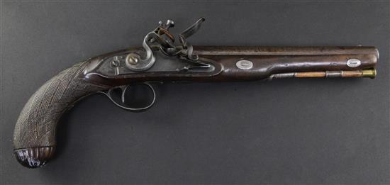 A George III flintlock holster pistol, by Bennett, c.1785, 14.5in.