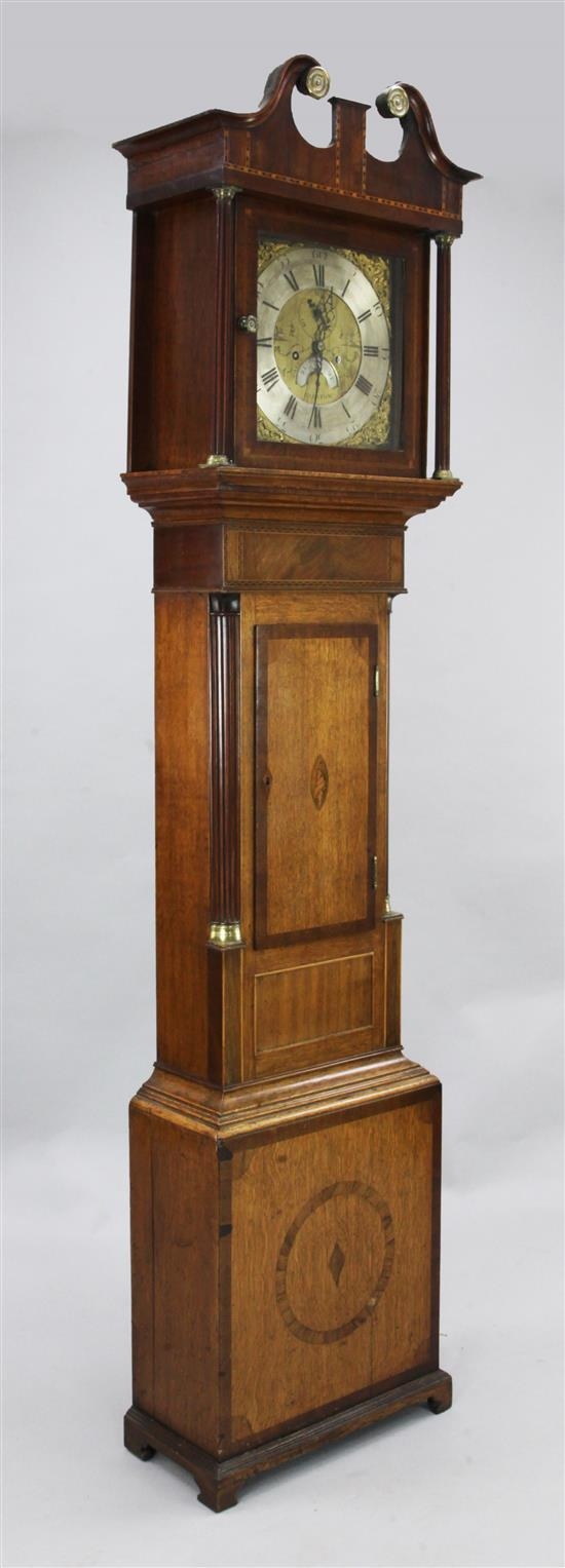 Caleb Boney of Padstow. A George III inlaid oak and mahogany eight day longcase clock, 6ft 11in.