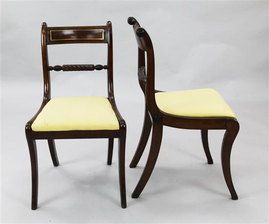 A set of eight Regency mahogany dining chairs, W.1ft 7in. H.2ft 8in.