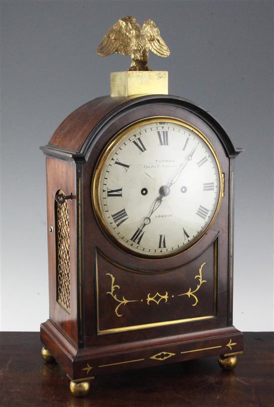 Tupman of London. A Regency brass inset and ebonised mahogany bracket clock, 19.5in.