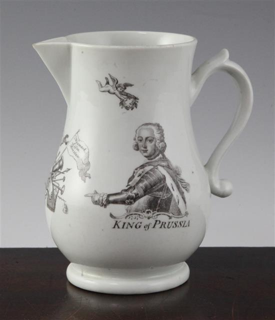 A Worcester black printed 'King of Prussia' baluster jug, dated 1757, 5.75in.