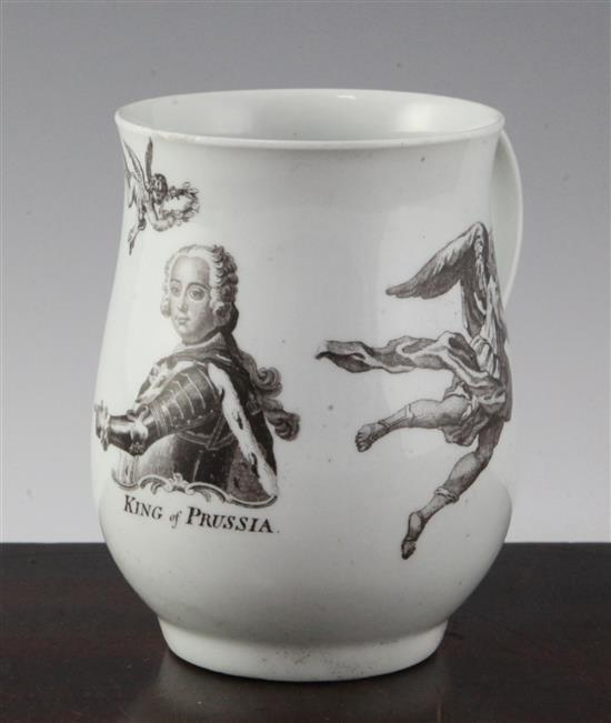 A Worcester black printed 'King of Prussia' baluster mug, dated 1757, 4.6in.