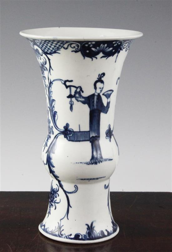 A Worcester Telephone Box pattern blue and white beaker vase, c.1765-70, 7.75in., foot chipped
