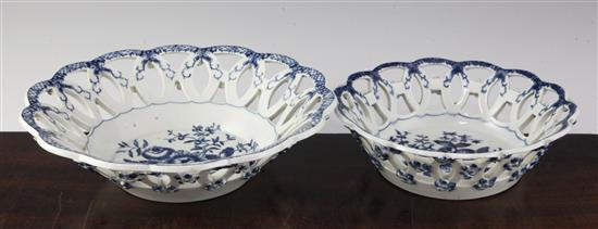 A Worcester Pine Cone pattern basket and another smaller, c.1770, 9in. & 7in.