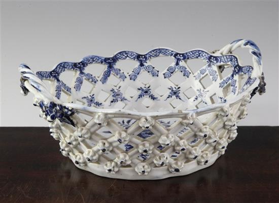 A Lowestoft blue and white Pine Cone pattern oval chestnut basket, c.1775-85, 9.25in.