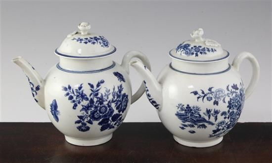 Two Worcester blue and white globular teapots and covers, c.1775-80, height 5.5in.