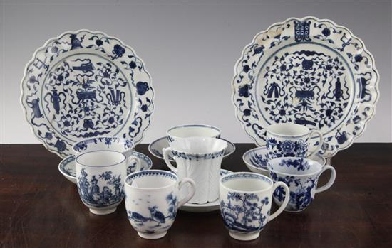 A group of Worcester blue and white tea and coffee wares, (14), some damage