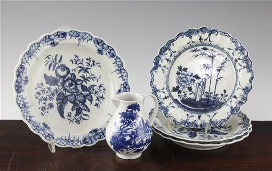A rare Worcester lobed plate, c.1765-70, (5)