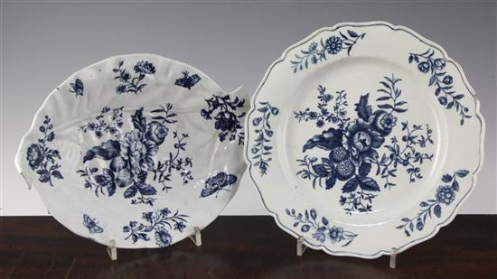 A Worcester blue printed leaf shaped dish and a silver shape plate, c.1775-80, 10in. & 9.25in.