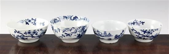 Four Worcester blue and white small bowls, c.1756-80, diam. 4in. - 4.75in.