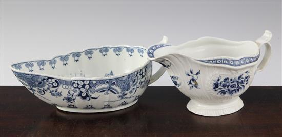 Two Worcester blue and white sauceboats, c.1775-80, 8.25in. & 6.75in.