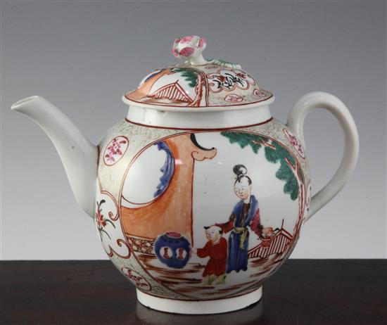 A large Worcester polychrome globular teapot and cover, c.1770, height 6.5in.