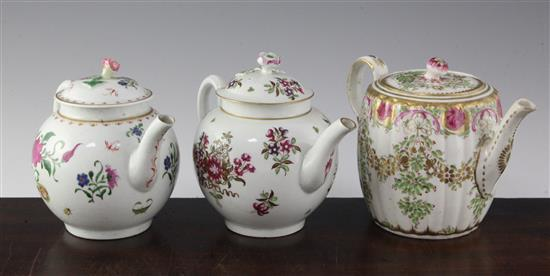 Three Worcester polychrome flower painted teapots and covers, c.1770-85, 5.5in. - 5.7in.