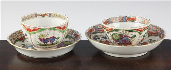 Two tea bowls and saucers