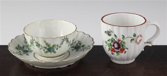 A Bristol fluted coffee cup and a Worcester tea bowl and saucer, c.1770-80, saucer 4.9in.
