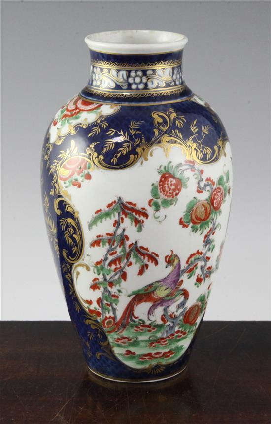 A Worcester ''Ho-Ho bird'' blue scale ovoid vase, c.1770, 8.25in.