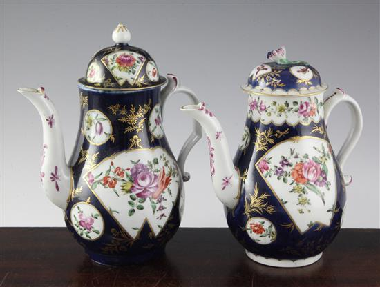 Two Worcester scale blue baluster coffee pots and covers, c.1770, 8.25in. & 9in., restorations