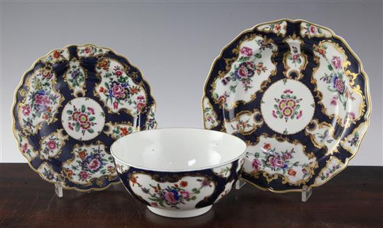 A group of Worcester scale blue wares, c.1770-80, small dish chipped