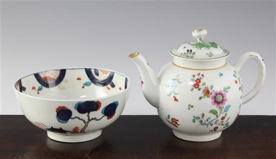 A Worcester polychrome teapot and cover, probably decorated in the atelier of James Giles, teapot damaged (3)