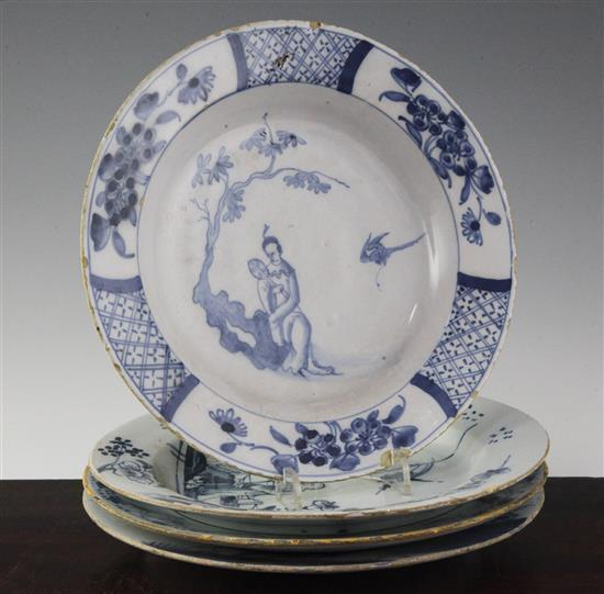 Three English delft ware plates and a similar Dutch example, mid 18th century, 8.75in. - 9.2in.