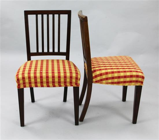 A harlequin set of twelve George III mahogany dining chairs, H.2ft 11in.