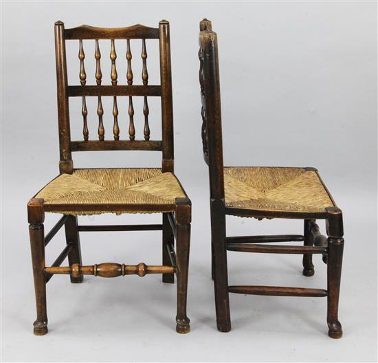A harlequin set of eight ash and beech spindleback chairs,