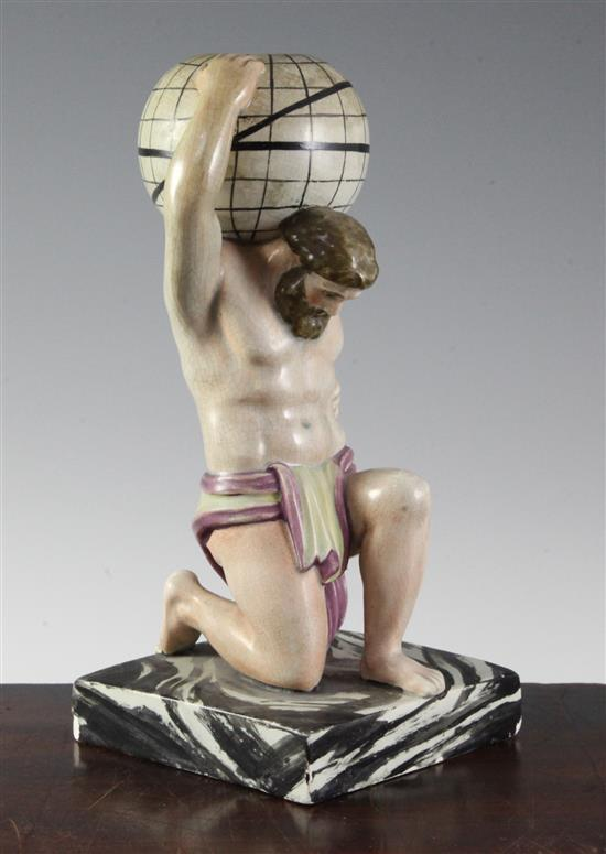 A Enoch Wood type pearlware figure of Atlas supporting a globe on his shoulder, c.1810, 24cm (9.5in.), restorations