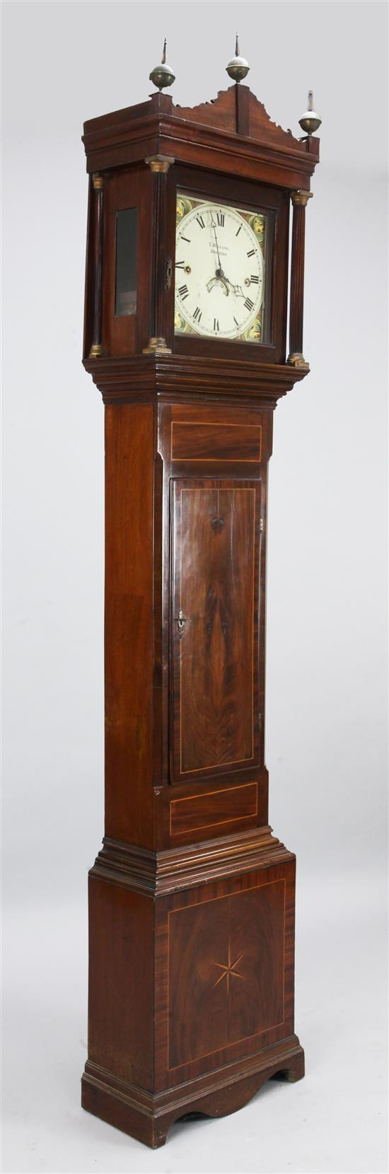 T.Holland of Brighton. An early 19th century inlaid mahogany eight day longcase clock, 7ft 5in.