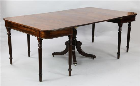 A Regency Irish mahogany extending dining table, W.6ft 6in D.3ft 10in. H.2ft 5in.