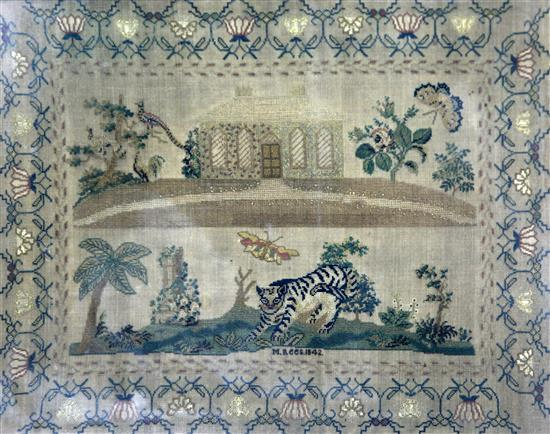 An early Victorian needlework sampler, 13 x 16in.