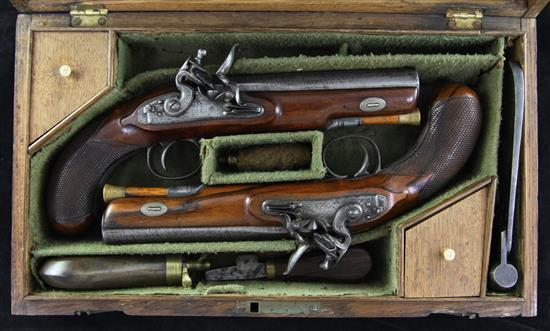 A cased pair of Officer's flintlock pistols, by Clarck of London, pistols overall 10in. case 14in.
