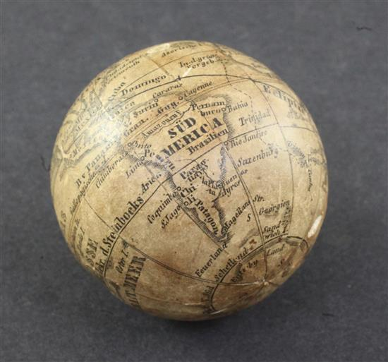 An early 19th century German pocket globe, possibly by Bauer for Sterne, 1.5in.
