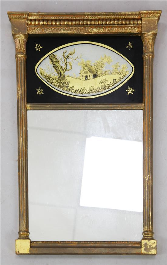 A Regency gilt gesso pier glass, W.1ft 5in. H.2ft 1in.