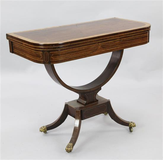 A Regency banded and strung rosewood card table, W.3ft D.1ft 6in. H.2ft 6in.