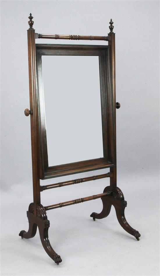 A Regency mahogany cheval glass, W.2ft 9in. H.5ft 3in.