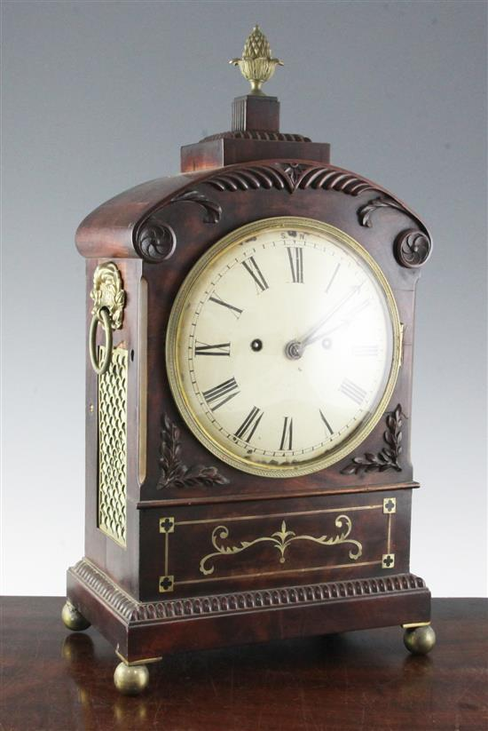 A Regency brass inset mahogany hour repeating bracket clock, 19.5in.