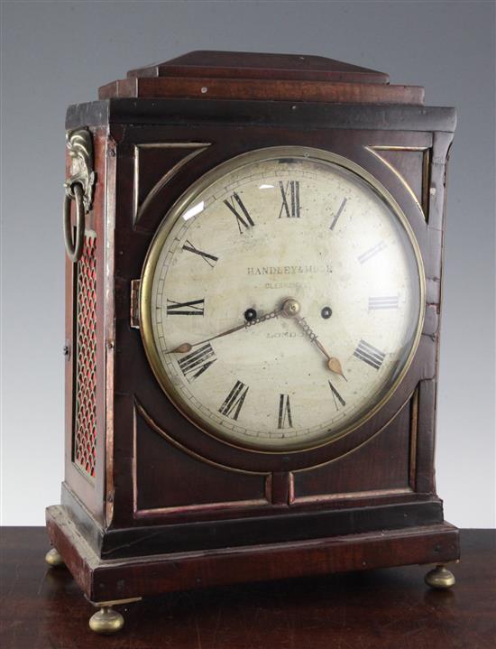 Handley & Moore. A Regency mahogany hour repeating bracket clock, 15.75in.