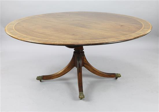 A Regency style satinwood and rosewood banded mahogany tilt top breakfast table, W.5ft 2in.