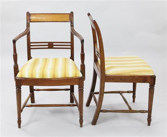 A set of six Regency mahogany dining chairs, carvers W.1ft 9in. H.2ft 10in.