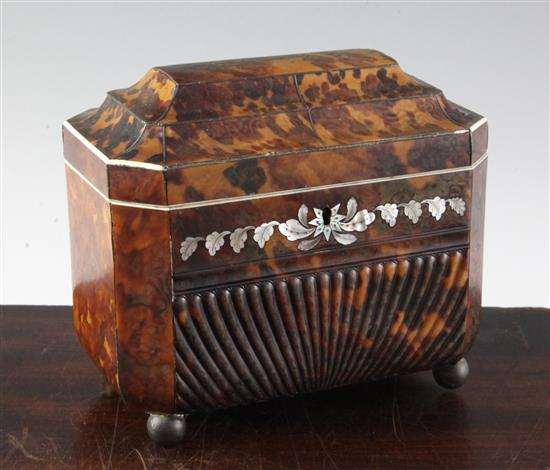 A Regency mother of pearl inset tortoiseshell tea caddy, 7in.