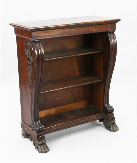 A small William IV mahogany open bookcase, W.2ft 5in. D.1ft 1in. H.2ft 11in.