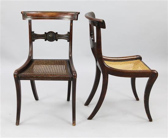 A set of four Regency brass inset mahogany dining chairs, W.1ft 8in. H.2ft 8in.