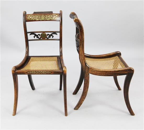 A set of six Regency brass inset mahogany dining chairs, W.1ft 6in. H.2ft 9in.