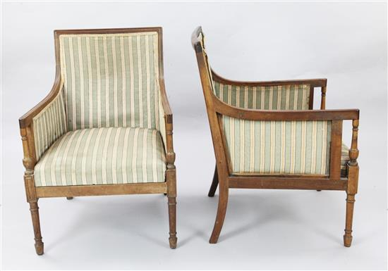 A pair of Regency style mahogany bergere armchairs, W.2ft D.2ft 1in. H.2ft 10in.